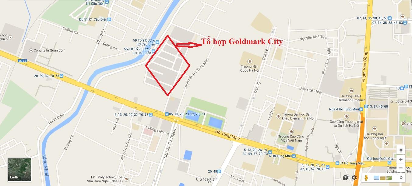 vị trí dự án Goldmark city 136 hồ tùng mậu