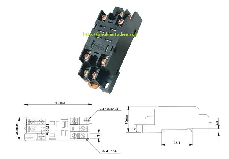 Đế relay 8 chân dẹp nhỏ PYF-08A - Đế relay 8 chân dẹp lớn PTF-08A
