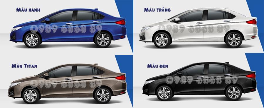 Các loại màu xe Honda City 2015