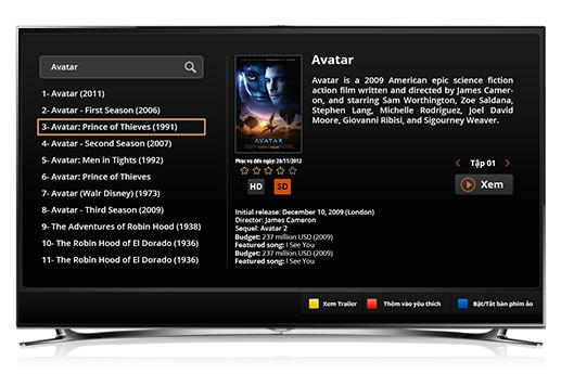 mục tìm kiếm phim HD trên kho phim FPT