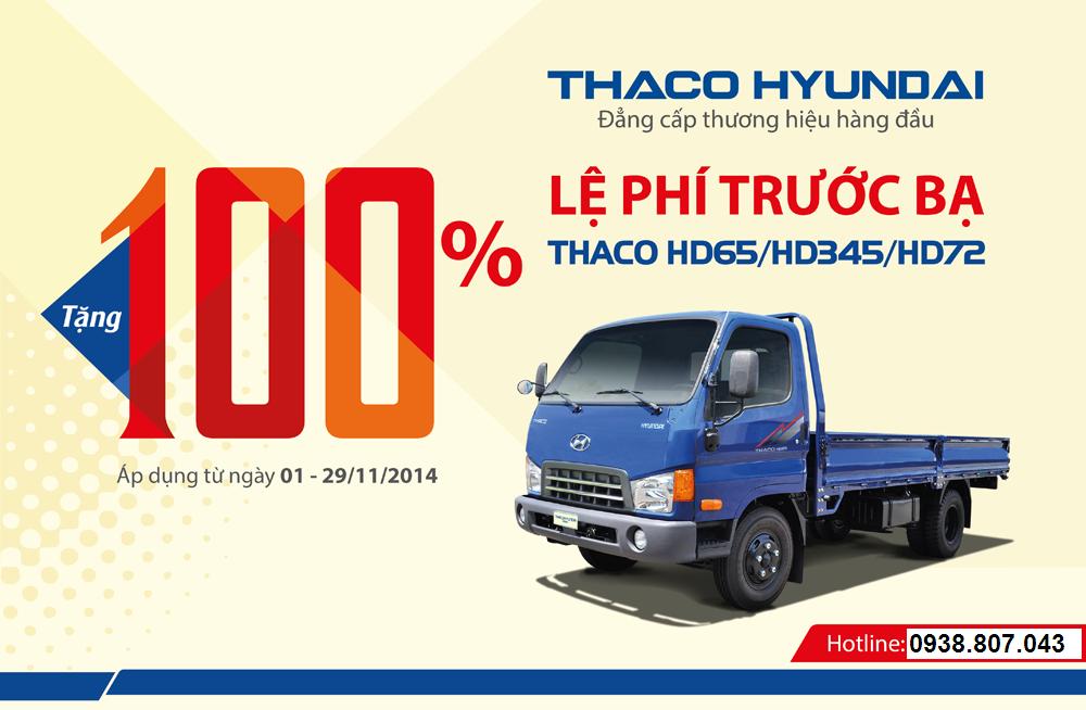 THACO hỗ trợ 100% lệ phí trước bạ cho khách hàng mua xe Thaco HD65/HD345/HD72