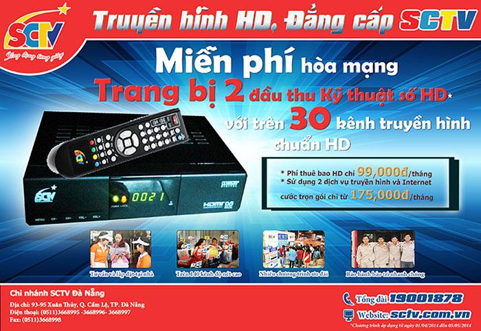 Chương trình ưu đãi của SCTV tại chi nhánh Hà Nội và Đà Nẵng
