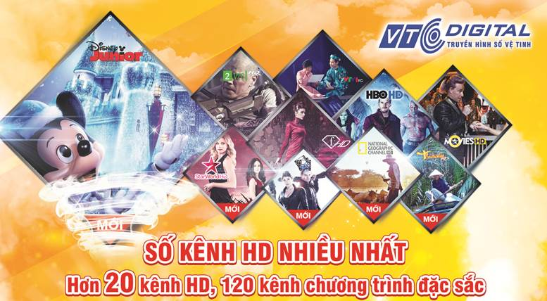 Truyền hình số vệ tinh VTC sẽ bổ sung thêm gói 10 kênh HD & SD