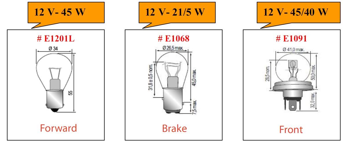 Bóng đèn tròn loại 12V cho xe nâng hàng