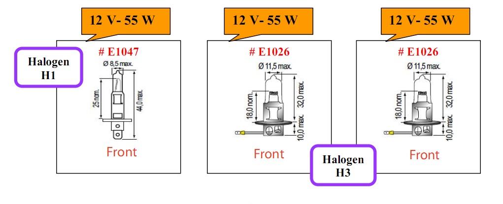 Bóng đèn tròn Halogen loại 12V cho xe nâng hàng