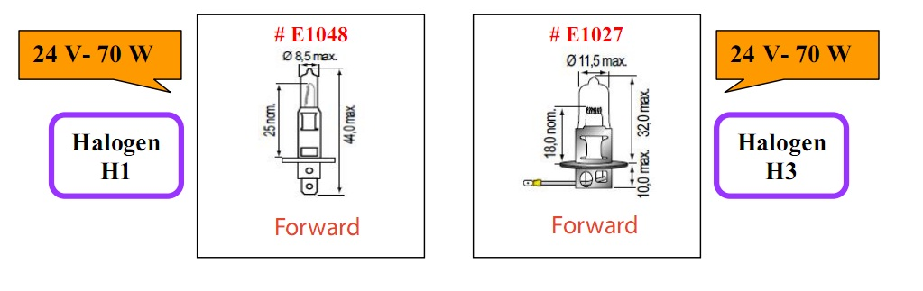 Bóng đèn tròn cho xe nâng hàng loại 24V