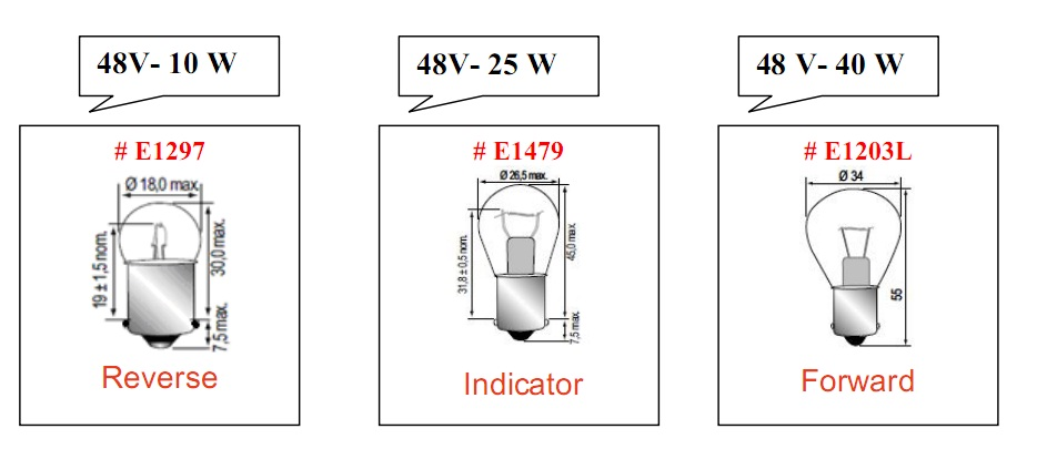 Bóng đèn tròn loại 48V cho xe nâng hàng