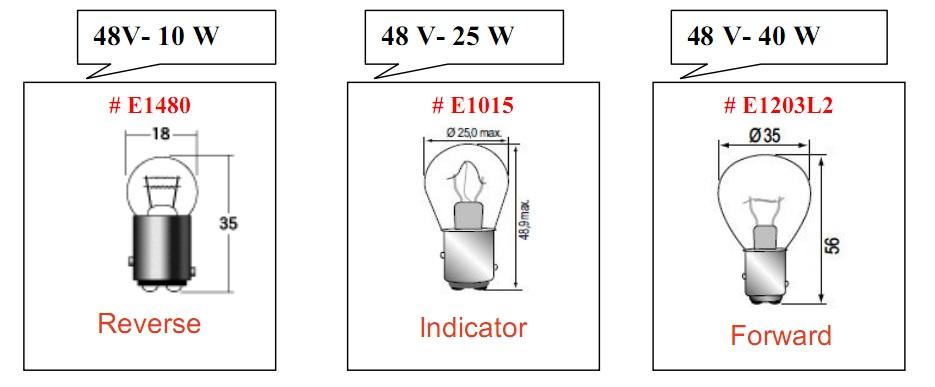 Bóng đèn loại hình tròn 48V cho xe nâng