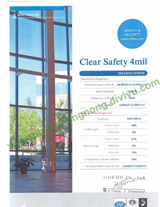 phim bảo vệ dán kính Safety 4mil thương hiệu Ntech _Hàn Quốc dán mái sảnh,lan can kính