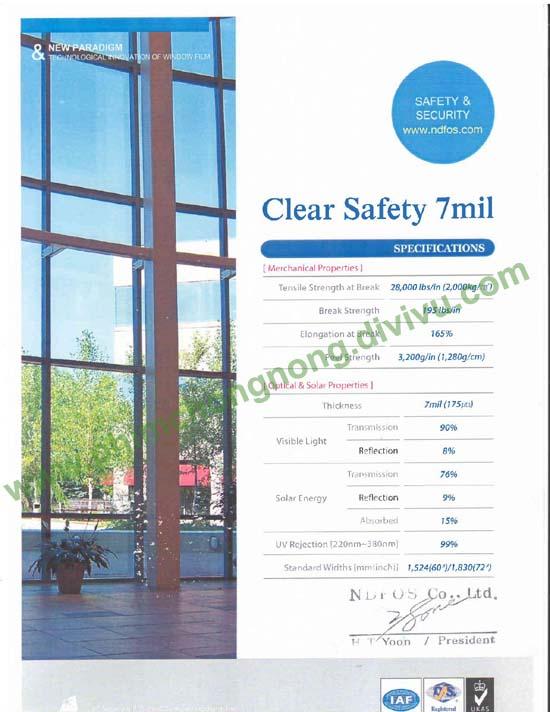 phim bảo vệ an toàn Safety 7mil _Ntech Hàn Quốc dán lan can, mái sảnh kính