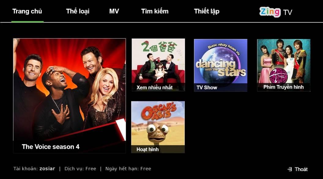 ZingTV trên FPT Play HD