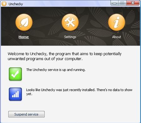 Giao diện phần mềm loại bỏ tiện ích rac