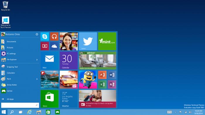 giao dien start menu cua windows 10