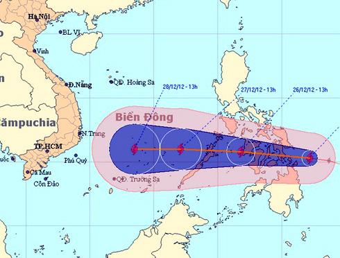 Cơn bão cuối cùng năm 2012 vào biển Đông