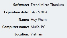 Hạn dùng phần mềm tới 27/4/2014