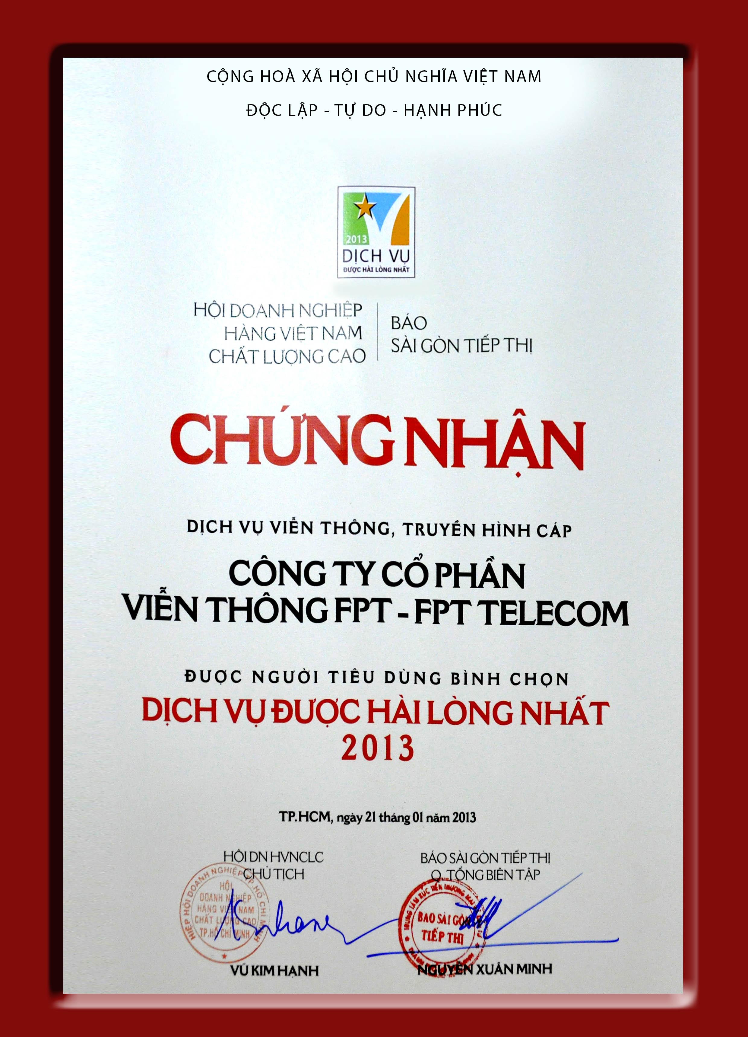 FPT - Chứng nhận dịch vụ internet được hài lòng nhất