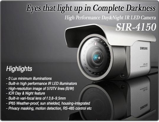 Camera samsung SIR-4150 có khả năng quan sát ngày &đêm hiệu quả cao với IR LED