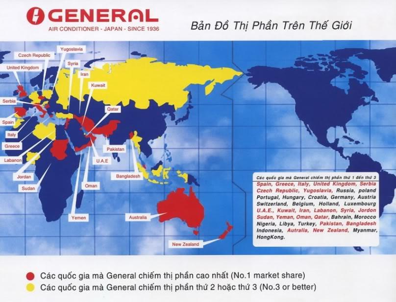 Thị phần của Điều hòa General trên Thế giới và Việt Nam