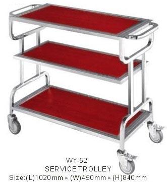 Xe đẩy hành lý bằng inox wy52 | xe đẩy inox 3 tầng wy52