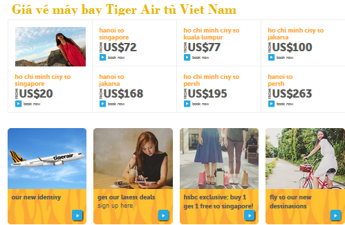 Giá vé máy bay khuyến mại Tiger Air từ Việt Nam